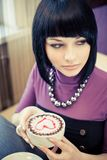 Young woman in cafe Royalty Free Stock Photography