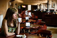 Young woman in cafe Stock Photos