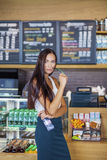 Young woman in cafe shop Stock Photo