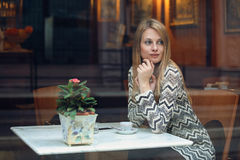 Young woman in a cafe Royalty Free Stock Photo