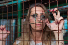 Young woman in cage. Long hair girl in cage Royalty Free Stock Image