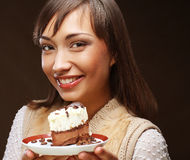 Young woman with a cake Stock Image