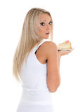 Young woman with cake. Royalty Free Stock Image