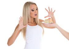 Young woman with cake. Stock Images