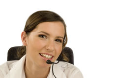 Young woman in call-center Royalty Free Stock Photo
