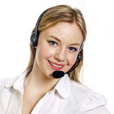 Young woman with a call centre headset Stock Photos