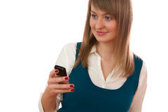 Young woman calling by cellular phone Royalty Free Stock Photography