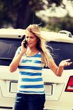 Young woman calling for help royalty free stock image