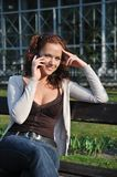 Young woman calling with mobile Royalty Free Stock Photos