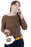 Young woman calling by phone Stock Images