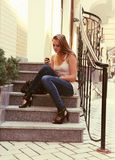 Young Woman Calling by Phone Outdoors Urban Royalty Free Stock Image