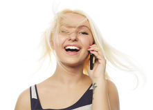 Young woman calling by phone Stock Photography