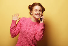 Young woman calling by phone Stock Photo