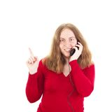 Young woman calling somebody Royalty Free Stock Photography
