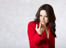 A young woman calls the interlocutor Stock Image