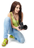 Young woman with camera. Stock Photos