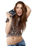 young woman with camera. Royalty Free Stock Image