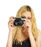The young woman with camera royalty free stock image