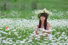 Young woman in camomile wreath looking at camera. Attractive brunette in chamomile wreath. Young woman in camomile wreath looking at camera smiling Royalty Free Stock Images