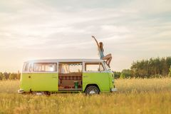 Young woman enjoying a roadtrip Royalty Free Stock Photography