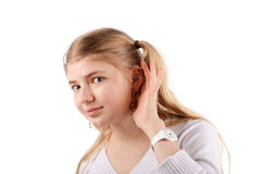 Young woman can't hear you Stock Photo