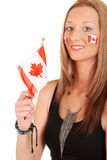 Young woman with canada flag and tattoos Royalty Free Stock Images