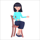 Young Woman Candidate on Job Interview Flat Vector Stock Photos