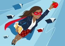 Young woman in cape and mask flying through air in superhero pose, looking confident and happy, holding an apple and folder with. Papers, open books around stock illustration
