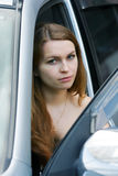 Young woman in the car. Royalty Free Stock Photography