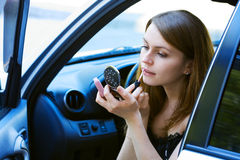 Young woman in a car. Royalty Free Stock Images