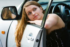 Young woman in the car Stock Photo