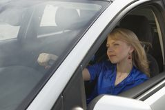 Young woman in car stock photo