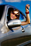 Young woman in the car Stock Photography