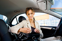 Young woman in the car Royalty Free Stock Image