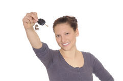 Young woman with car keys Stock Photography