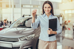Young Woman in a Car Rental Service Assistant Concept Stock Images