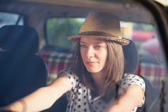 Young woman in car Royalty Free Stock Photos