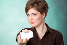 Young woman with card Stock Photos