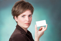 Young woman with card Stock Photography