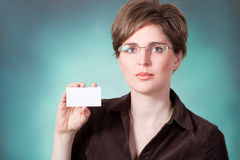 Young woman with card Royalty Free Stock Photos