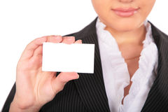 Young woman with card for text Royalty Free Stock Photos
