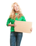 Young woman cardboard Royalty Free Stock Images
