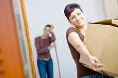 Young woman with cardboard box Royalty Free Stock Photo