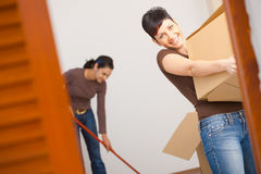 Young woman with cardboard box Stock Photography