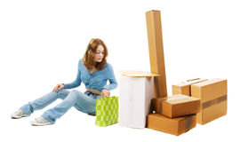 Young woman with cardboard boxes Royalty Free Stock Photography