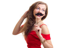 Young woman with cardboard stick Royalty Free Stock Image