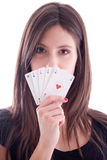 Young woman with cards in hand Stock Photo