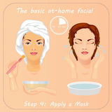 Young woman cares her face with mask. Facial care. Young woman cares and protects her face with mask. Beauty facial procedure vector illustration. Face care Royalty Free Stock Photos