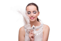 The young woman with carnival mask isolated on white. Young woman with carnival mask isolated on white Royalty Free Stock Photos