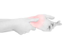Young woman with carpal tunnel syndrome, clipping path. Young woman with carpal tunnel syndrome, red wrist pain isolated on white, clipping path Royalty Free Stock Photography